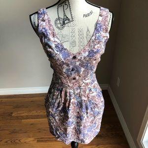 Solemio sleeveless floral mini dress side cutouts